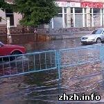 Происшествия: Центральные улицы Житомира затопило полметровым слоем воды. ФОТО